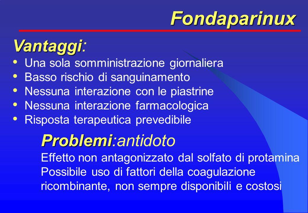 Fondaparinux Vantaggi: Problemi:antidoto