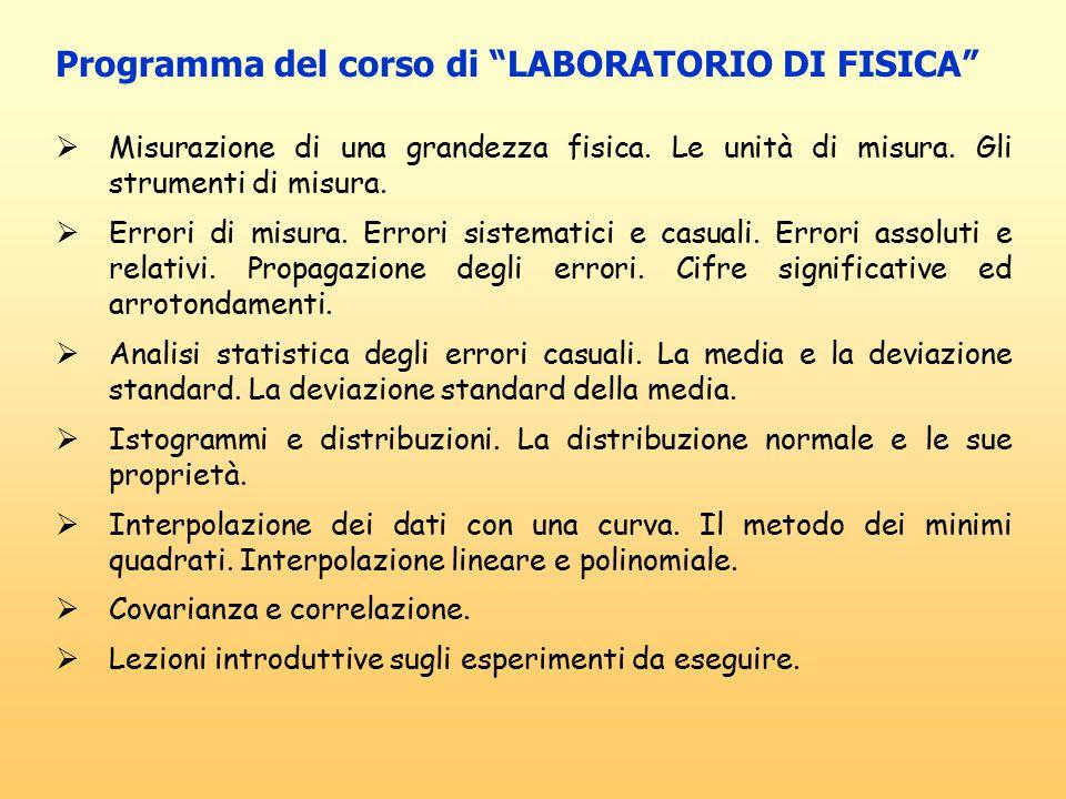Programma del corso di LABORATORIO DI FISICA