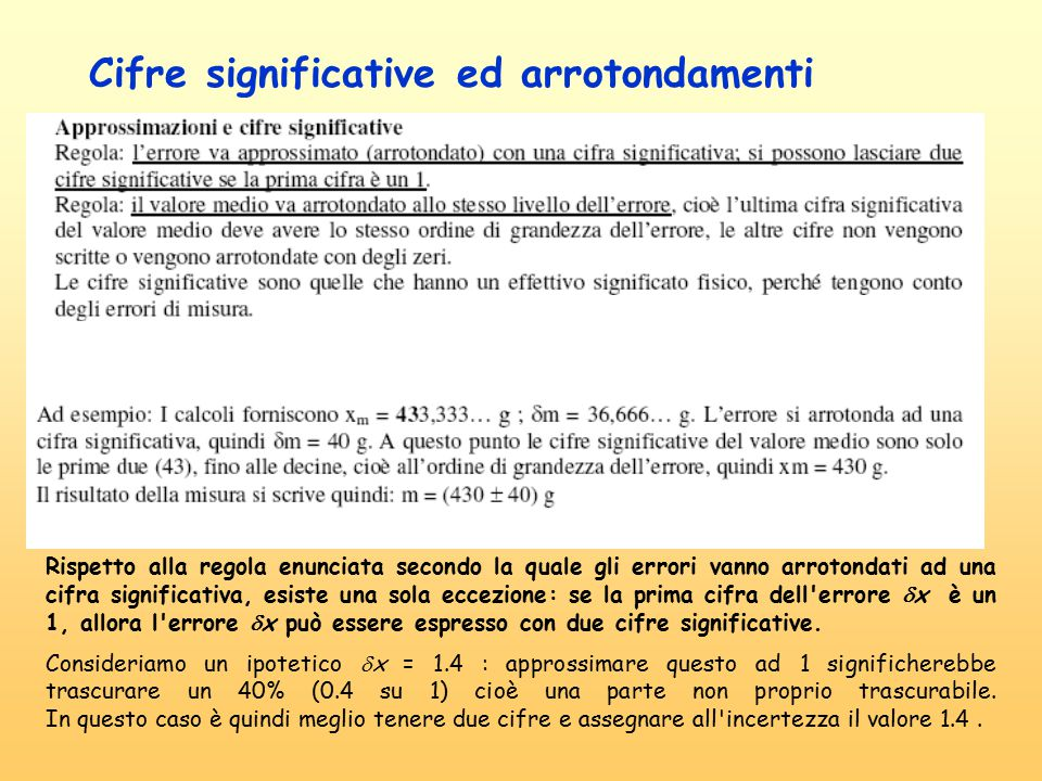Cifre significative ed arrotondamenti