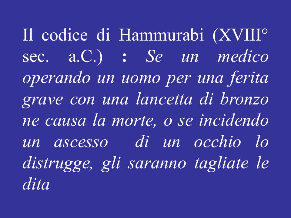 Il codice di Hammurabi (XVIII° sec. a. C