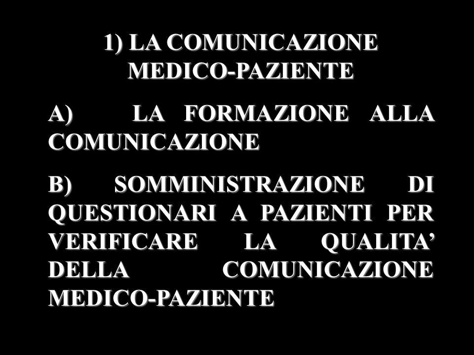 1) LA COMUNICAZIONE MEDICO-PAZIENTE