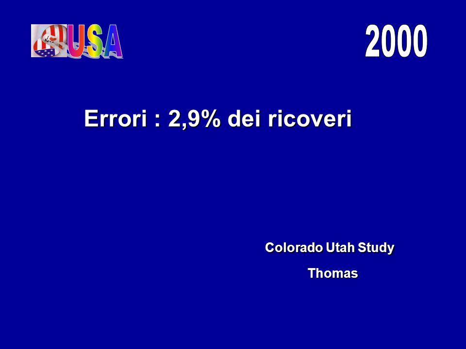 USA 2000 Errori : 2,9% dei ricoveri Colorado Utah Study Thomas
