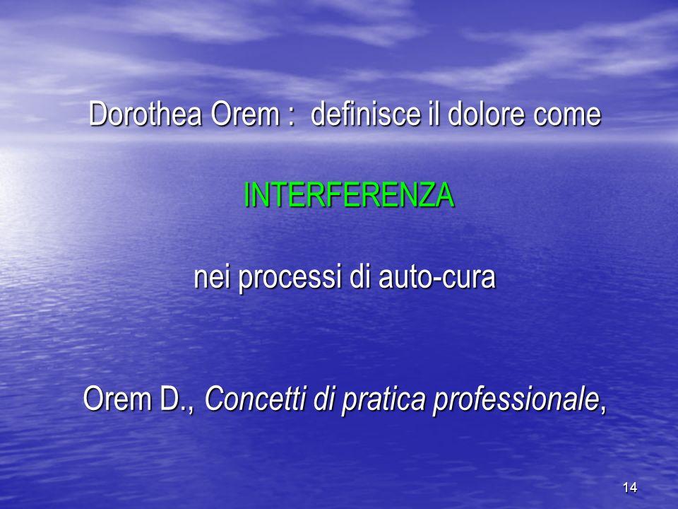 Dorothea Orem : definisce il dolore come INTERFERENZA nei processi di auto-cura Orem D., Concetti di pratica professionale,