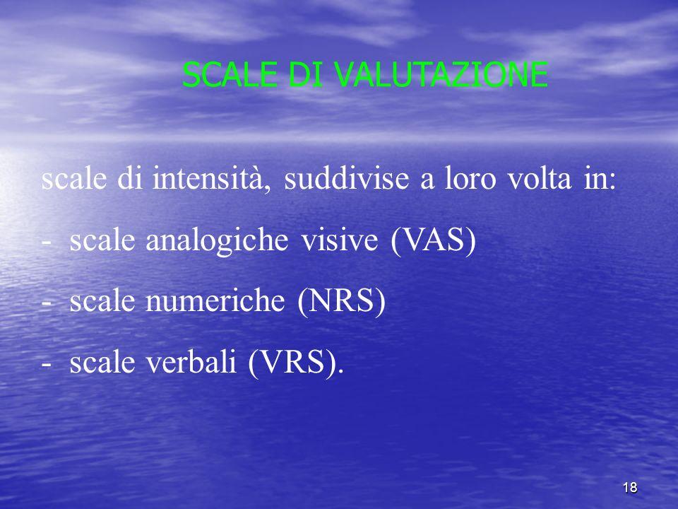 SCALE DI VALUTAZIONE scale di intensità, suddivise a loro volta in: - scale analogiche visive (VAS)
