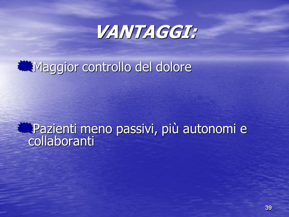 VANTAGGI: Maggior controllo del dolore