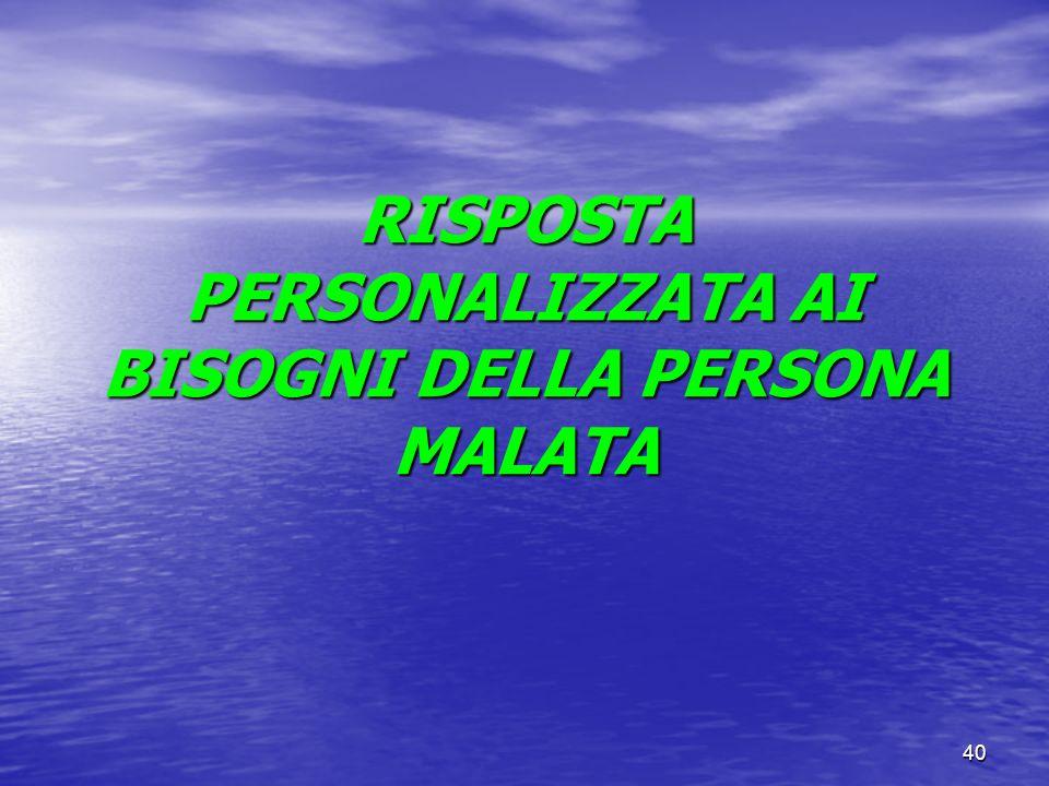 RISPOSTA PERSONALIZZATA AI BISOGNI DELLA PERSONA MALATA