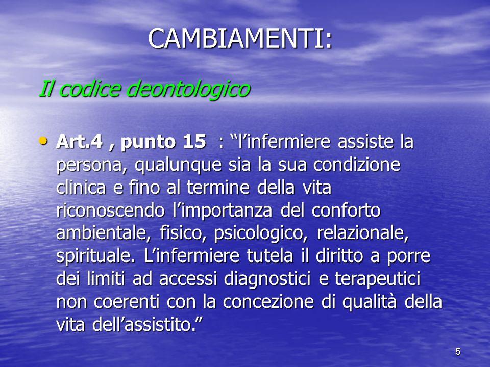 CAMBIAMENTI: Il codice deontologico