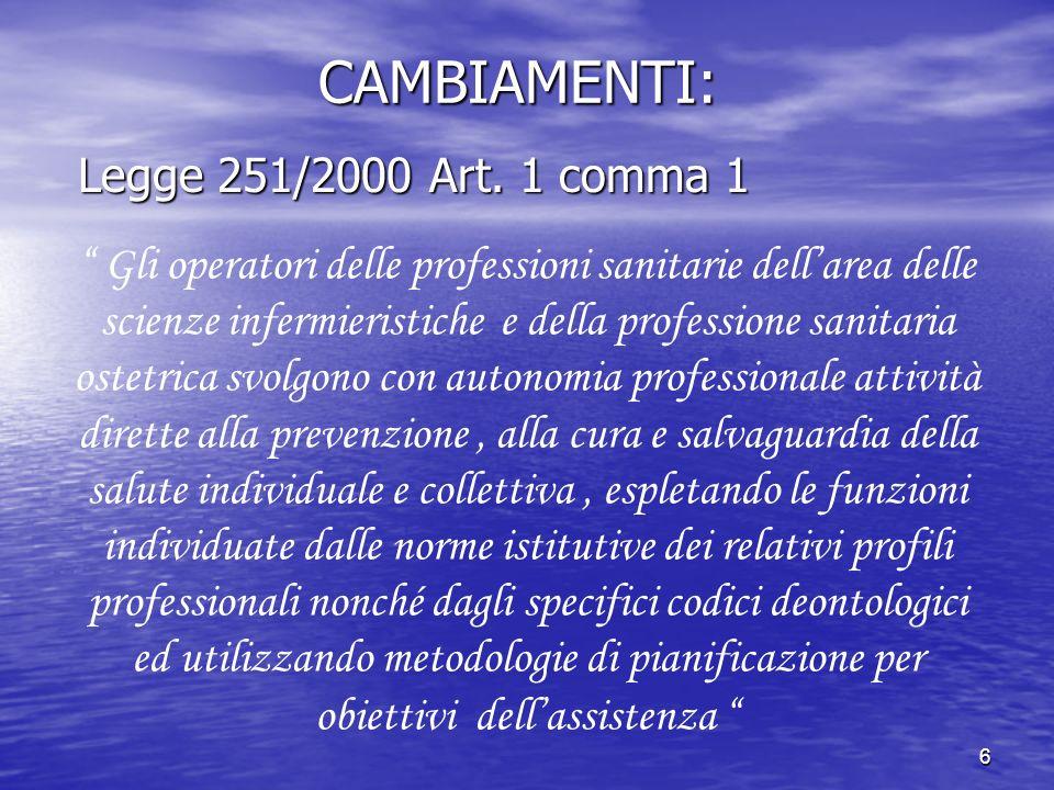 CAMBIAMENTI: Legge 251/2000 Art. 1 comma 1