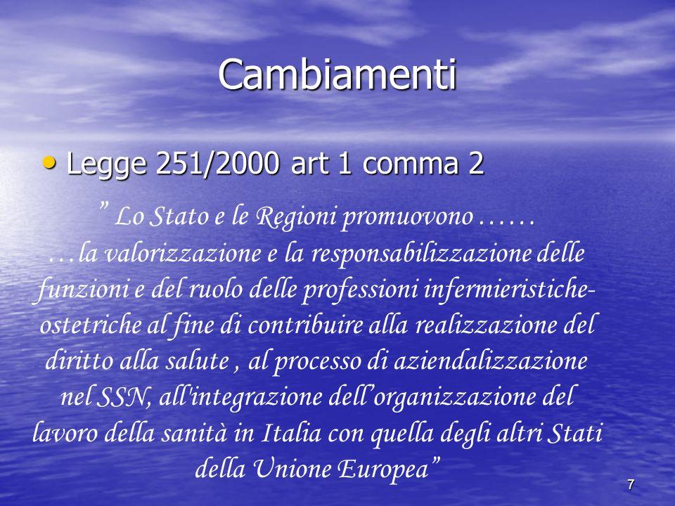 Cambiamenti Legge 251/2000 art 1 comma 2.