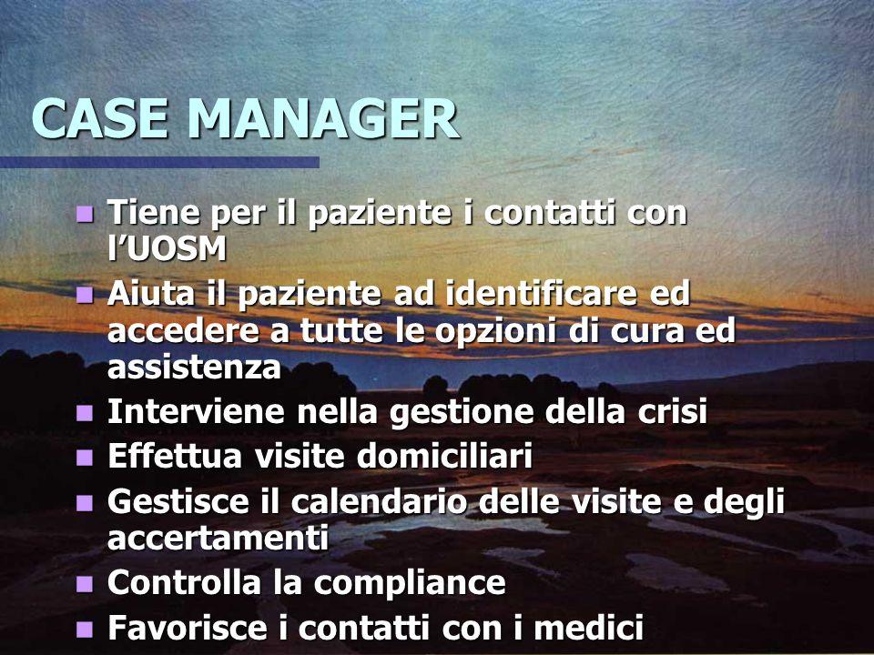 CASE MANAGER Tiene per il paziente i contatti con l'UOSM