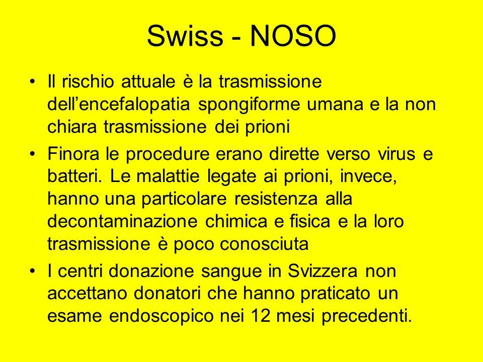 Swiss - NOSO Il rischio attuale è la trasmissione dell'encefalopatia spongiforme umana e la non chiara trasmissione dei prioni.