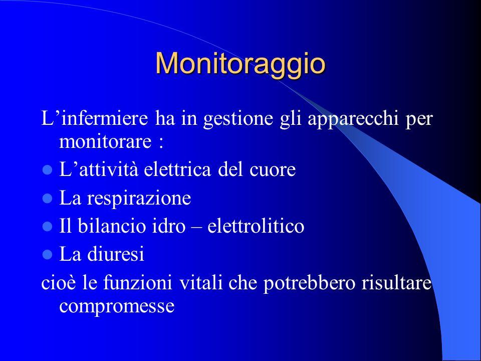 Monitoraggio L'infermiere ha in gestione gli apparecchi per monitorare : L'attività elettrica del cuore.