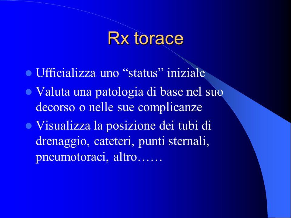 Rx torace Ufficializza uno status iniziale