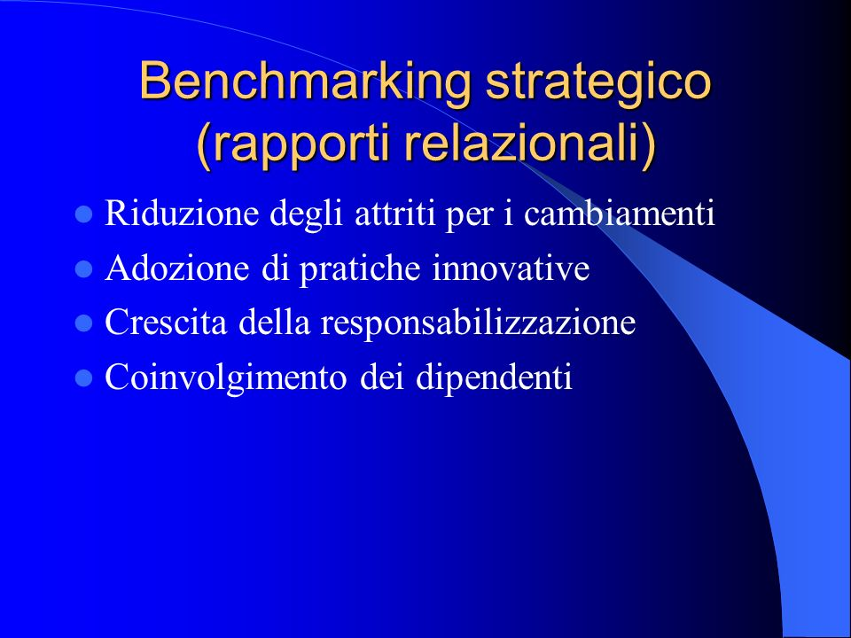 Benchmarking strategico (rapporti relazionali)