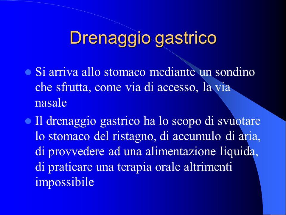 Drenaggio gastrico Si arriva allo stomaco mediante un sondino che sfrutta, come via di accesso, la via nasale.
