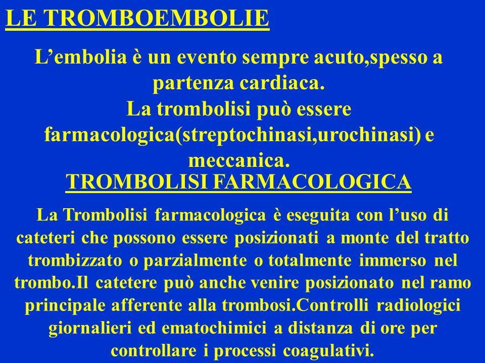 L'embolia è un evento sempre acuto,spesso a partenza cardiaca.
