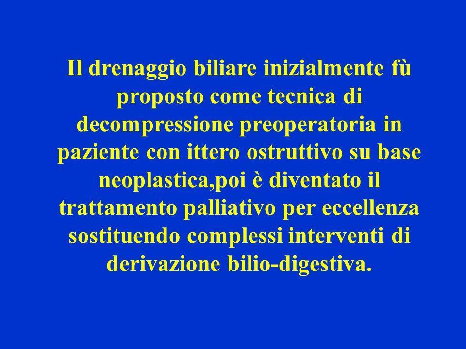 Il drenaggio biliare inizialmente fù proposto come tecnica di decompressione preoperatoria in paziente con ittero ostruttivo su base neoplastica,poi è diventato il trattamento palliativo per eccellenza sostituendo complessi interventi di derivazione bilio-digestiva.