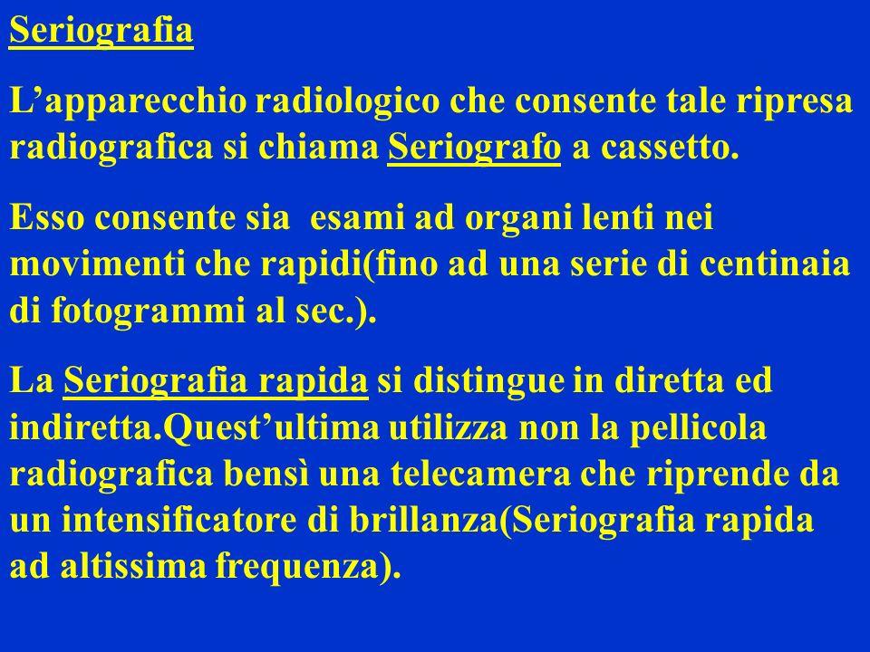 Seriografia L'apparecchio radiologico che consente tale ripresa radiografica si chiama Seriografo a cassetto.