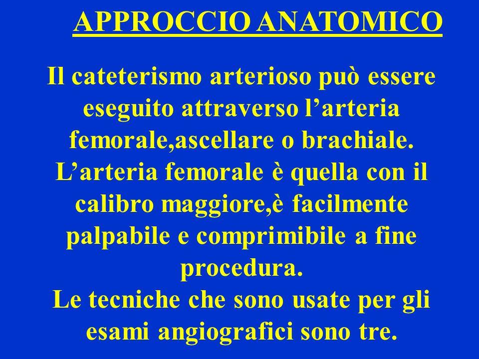 Le tecniche che sono usate per gli esami angiografici sono tre.