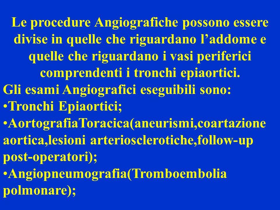 Le procedure Angiografiche possono essere divise in quelle che riguardano l'addome e quelle che riguardano i vasi periferici comprendenti i tronchi epiaortici.