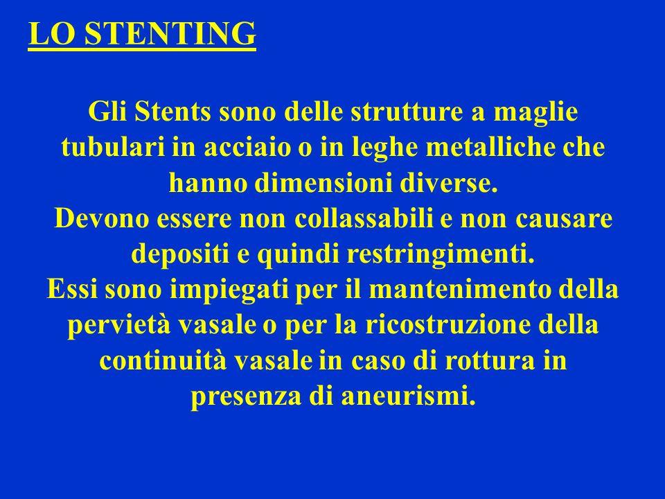 LO STENTING Gli Stents sono delle strutture a maglie tubulari in acciaio o in leghe metalliche che hanno dimensioni diverse.