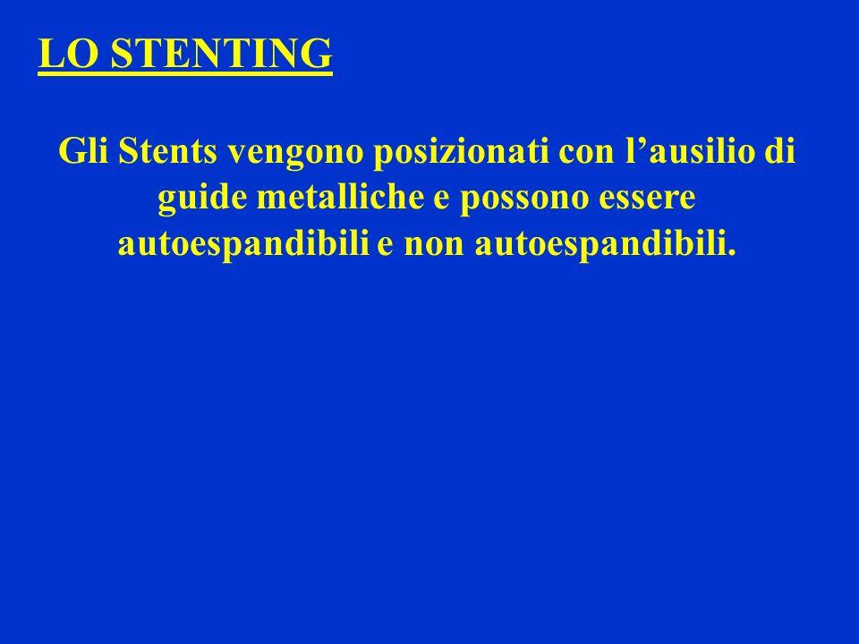 LO STENTING Gli Stents vengono posizionati con l'ausilio di guide metalliche e possono essere autoespandibili e non autoespandibili.