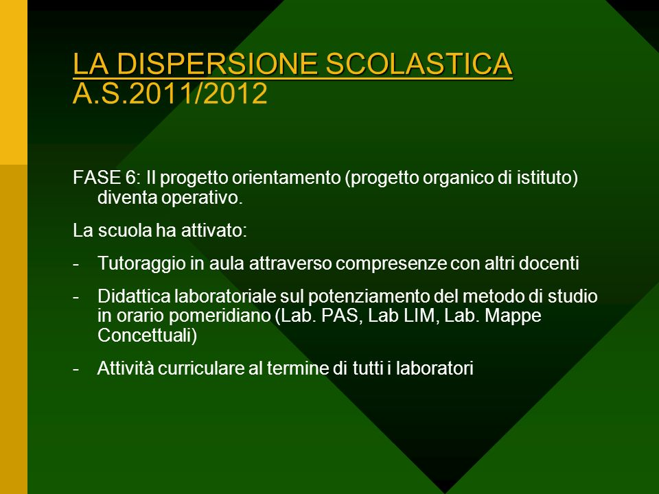 LA DISPERSIONE SCOLASTICA A.S.2011/2012