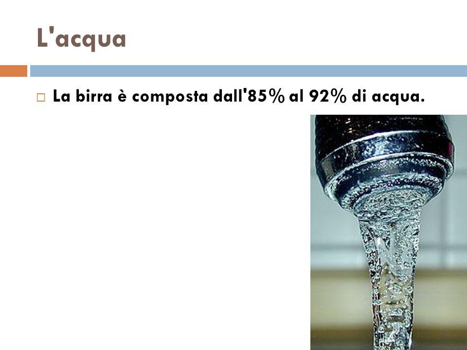 L acqua La birra è composta dall 85% al 92% di acqua.