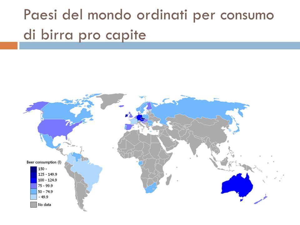 Paesi del mondo ordinati per consumo di birra pro capite