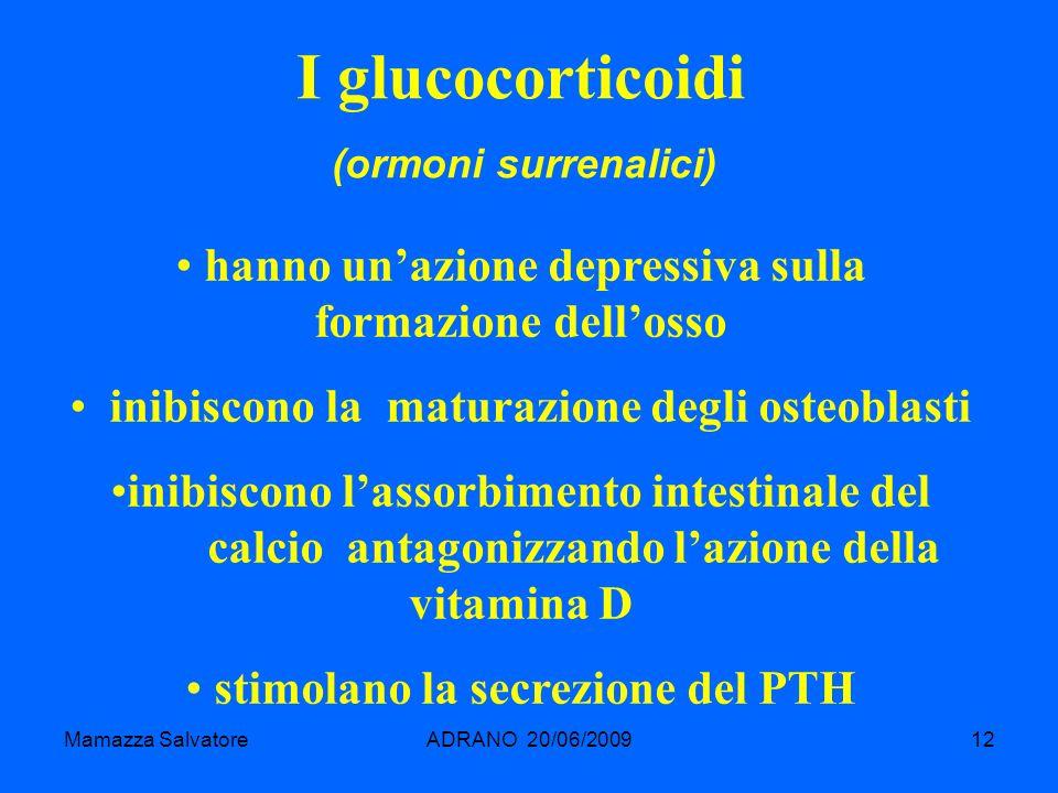 I glucocorticoidi (ormoni surrenalici) hanno un'azione depressiva sulla formazione dell'osso. inibiscono la maturazione degli osteoblasti.