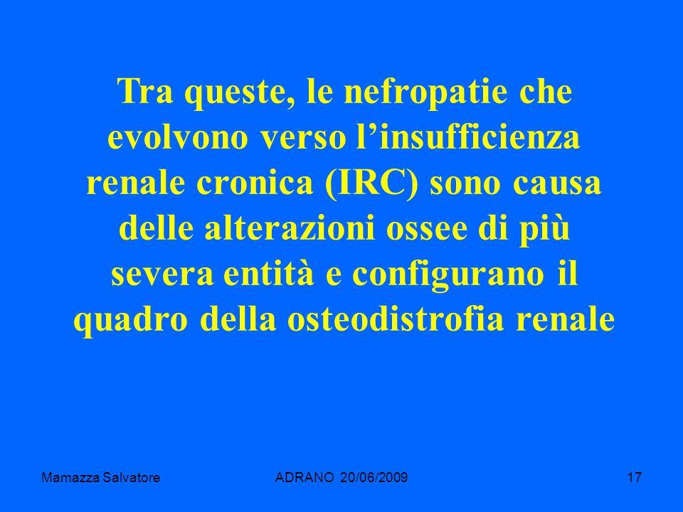 Tra queste, le nefropatie che evolvono verso l'insufficienza renale cronica (IRC) sono causa delle alterazioni ossee di più severa entità e configurano il quadro della osteodistrofia renale