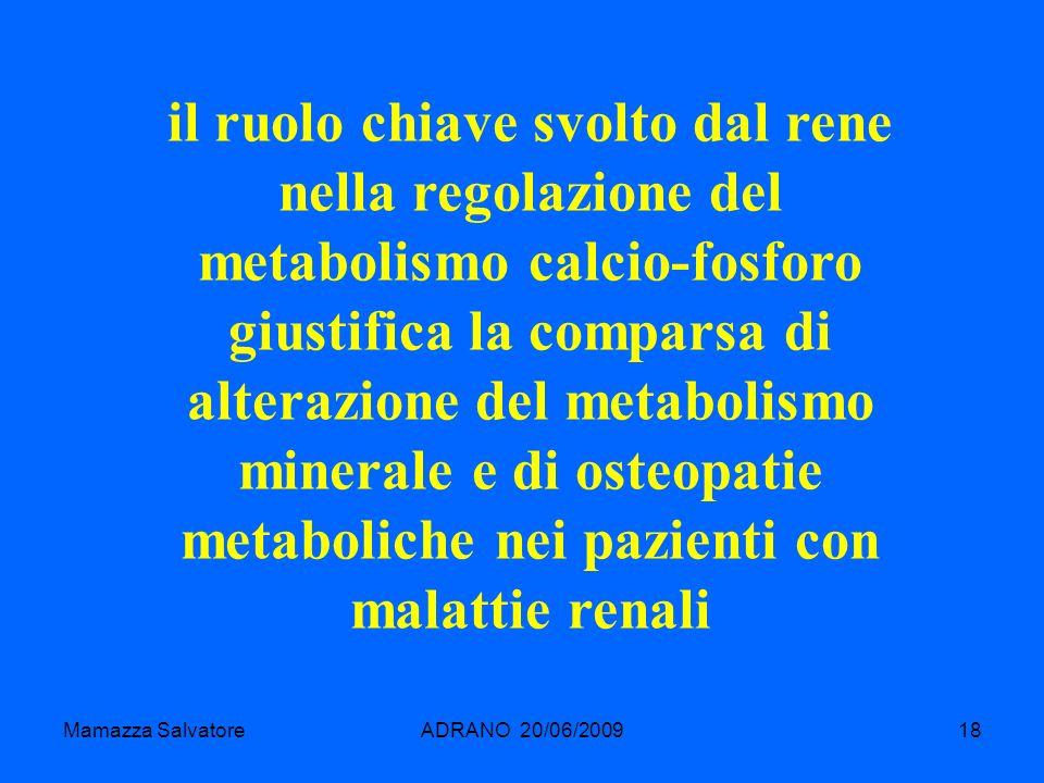 il ruolo chiave svolto dal rene nella regolazione del metabolismo calcio-fosforo giustifica la comparsa di alterazione del metabolismo minerale e di osteopatie metaboliche nei pazienti con malattie renali