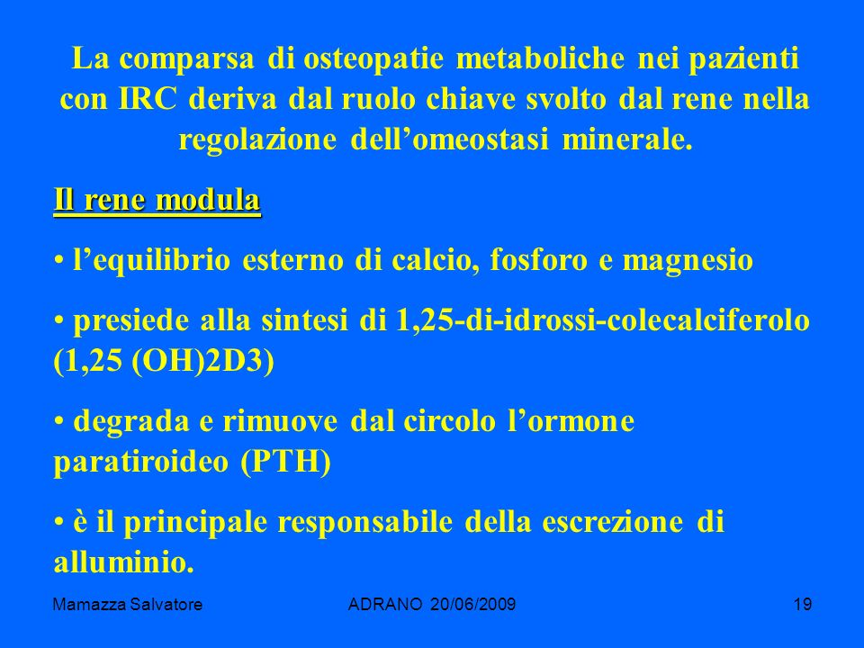 l'equilibrio esterno di calcio, fosforo e magnesio