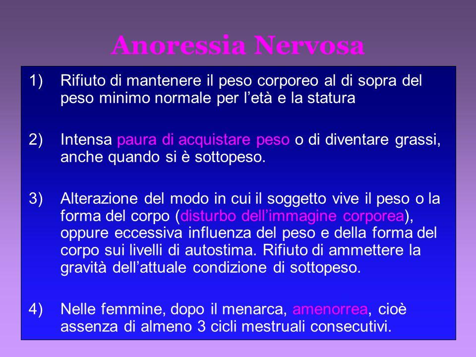 Anoressia Nervosa Rifiuto di mantenere il peso corporeo al di sopra del peso minimo normale per l'età e la statura.