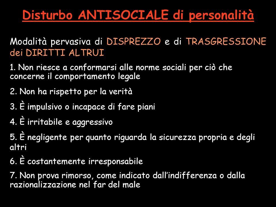 Disturbo ANTISOCIALE di personalità