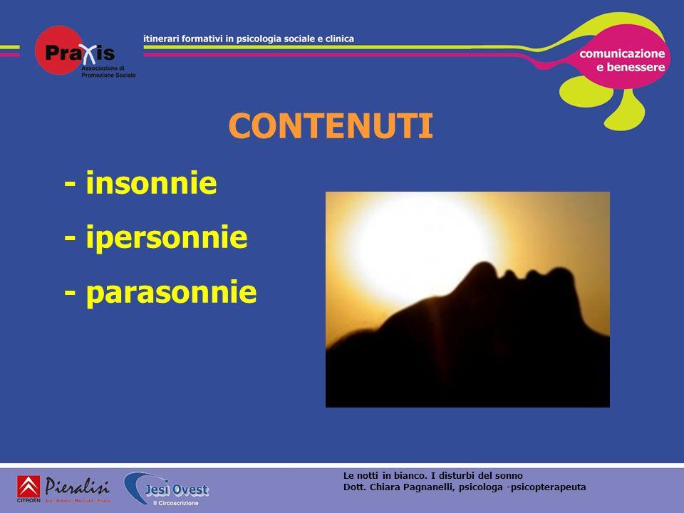 CONTENUTI - insonnie - ipersonnie - parasonnie