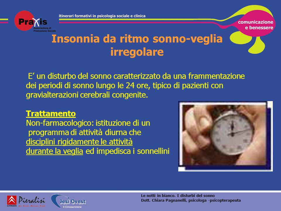 Insonnia da ritmo sonno-veglia irregolare