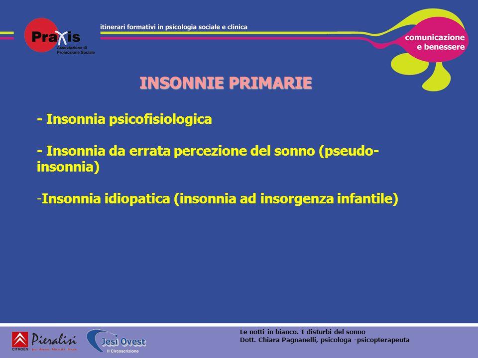 INSONNIE PRIMARIE - Insonnia psicofisiologica