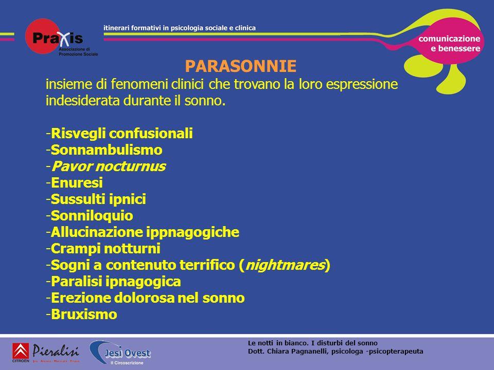 PARASONNIE insieme di fenomeni clinici che trovano la loro espressione indesiderata durante il sonno.