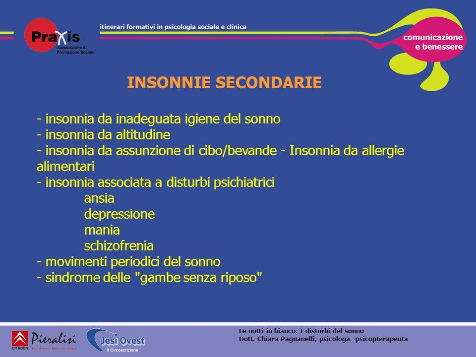 INSONNIE SECONDARIE - insonnia da inadeguata igiene del sonno