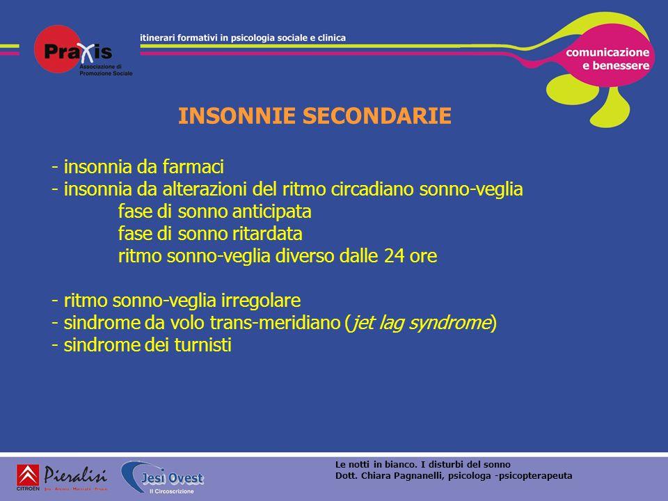INSONNIE SECONDARIE - insonnia da farmaci