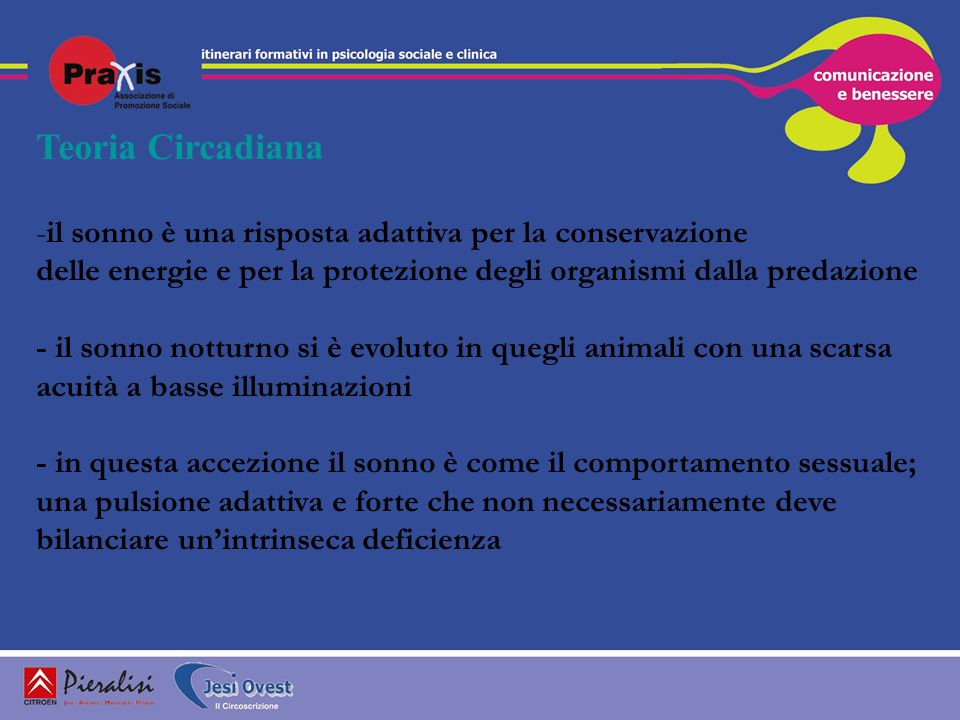 Teoria Circadianail sonno è una risposta adattiva per la conservazione. delle energie e per la protezione degli organismi dalla predazione.