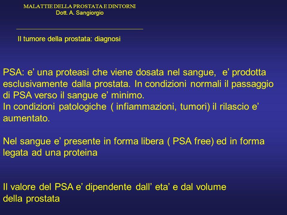 PSA: e' una proteasi che viene dosata nel sangue, e' prodotta