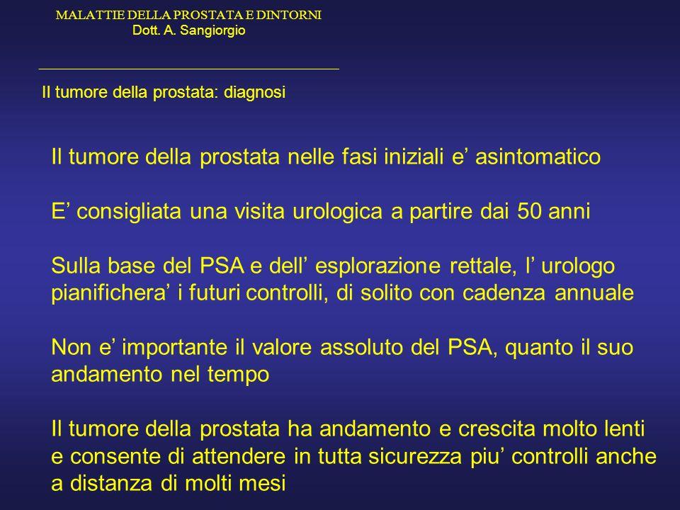 Il tumore della prostata nelle fasi iniziali e' asintomatico