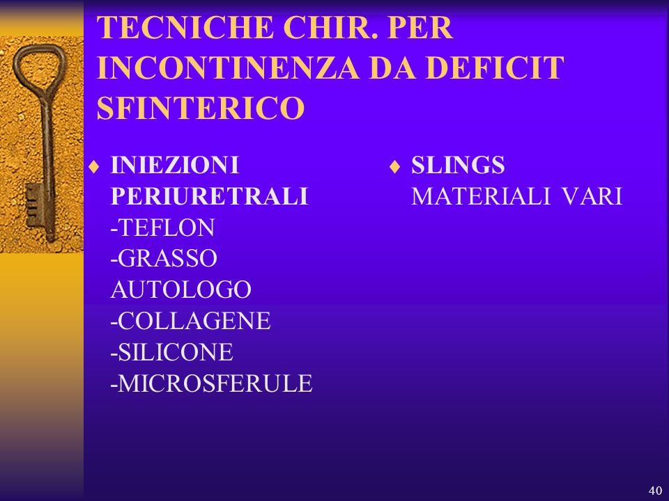 TECNICHE CHIR. PER INCONTINENZA DA DEFICIT SFINTERICO