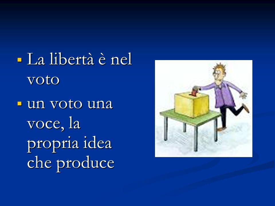 La libertà è nel voto un voto una voce, la propria idea che produce