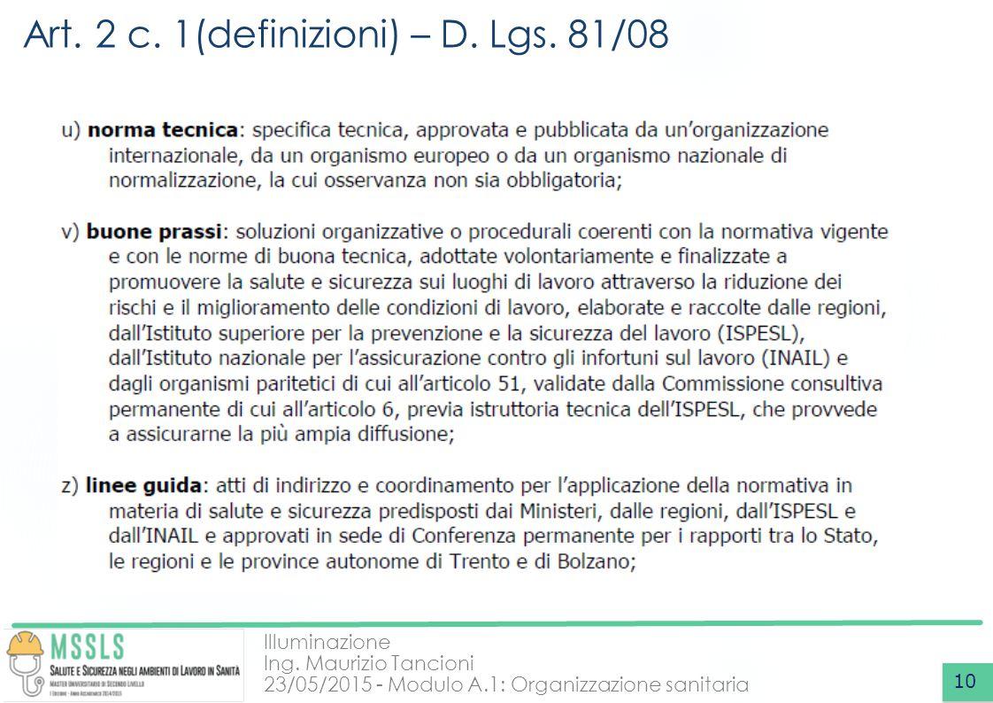 Art. 2 c. 1(definizioni) – D. Lgs. 81/08