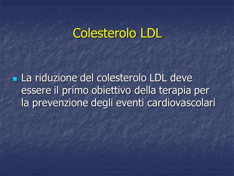 Colesterolo LDL La riduzione del colesterolo LDL deve essere il primo obiettivo della terapia per la prevenzione degli eventi cardiovascolari.
