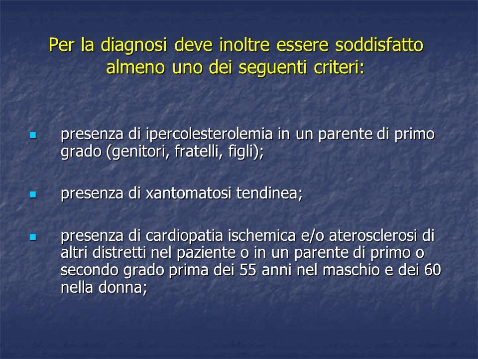 Per la diagnosi deve inoltre essere soddisfatto almeno uno dei seguenti criteri: