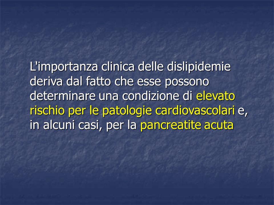 L importanza clinica delle dislipidemie deriva dal fatto che esse possono determinare una condizione di elevato rischio per le patologie cardiovascolari e, in alcuni casi, per la pancreatite acuta